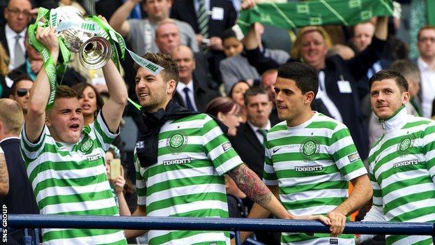 Celtic beat Hibernian 3-0 at Hampden to win the Scottish Cup last season