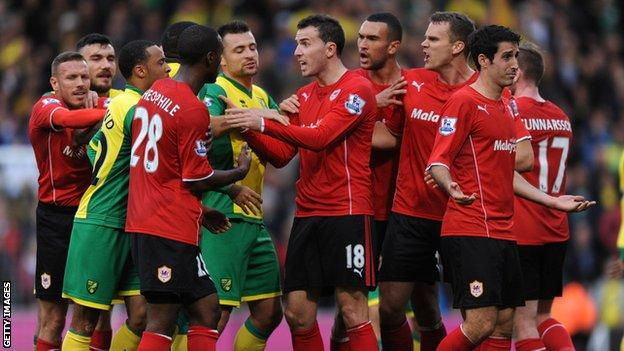 Norwich City and Cardiff City scuffle at the end of their Premier League game