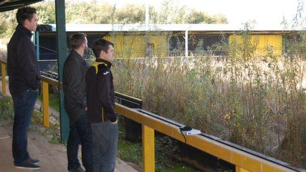 Three fans stand in Meadow Park - Gloucester City's home