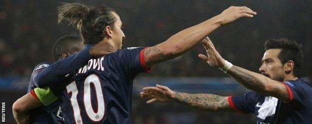 Zlatan Ibrahimovic celebrates after scoring Paris St Germain's equaliser