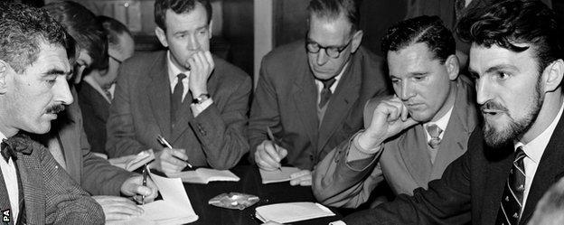 Jimmy Hill briefs the press over the possible players' striker in the wages and contracts dispute of 1961