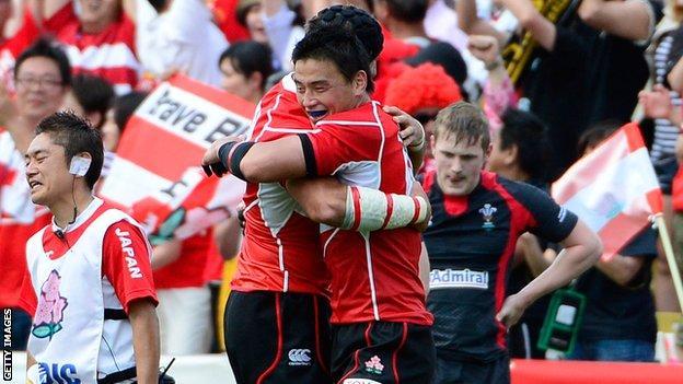 Japanese full back Ayumu Goroumaru celebrates the win over Wales