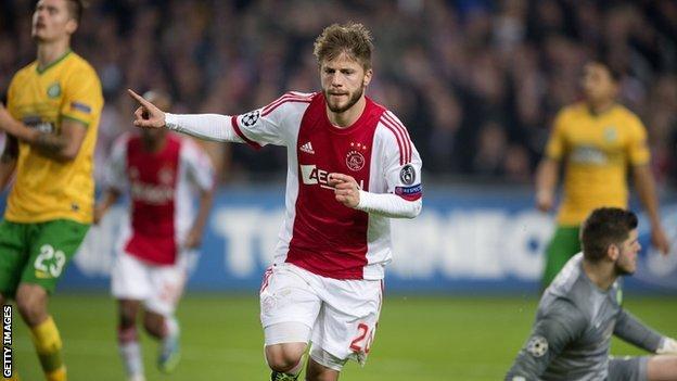 Lasse Schone celebrates Ajax's winner against Celtic
