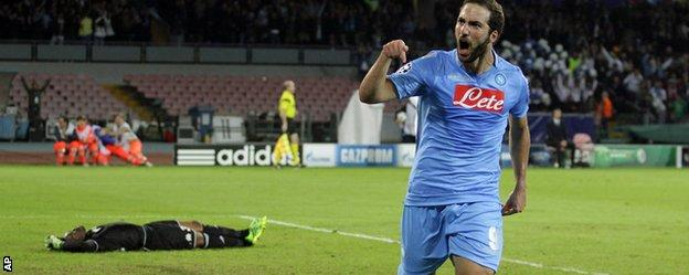 Gonzalao Higuain of Napoli in the Champions League win over Marseille