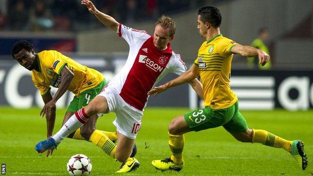 Efe Ambrose and Beram Kayal in action for Celtic against Ajax