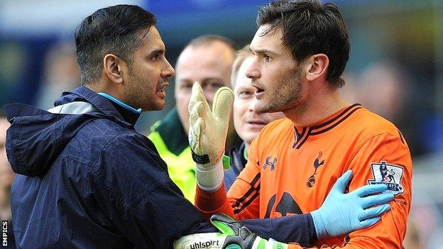 Tottenham goalkeeper Hugo Lloris suffered a serious head injury at Everton