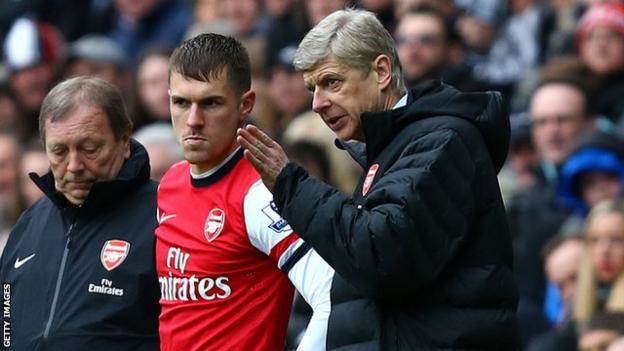 Arsenal manager Arsene Wenger (right) and player Aaron Ramsey