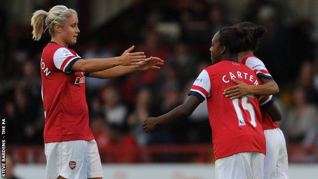 Arsenal's Steph Houghton celebrates with Danielle Carter and Rachel Yankey