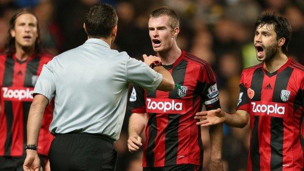 West Brom protest to Andre Marriner