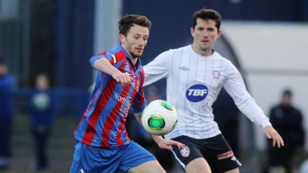 Willie Faulkner and Gareth Tommons in action as Ards beat Coleraine 3-1 at Clandeboye Park