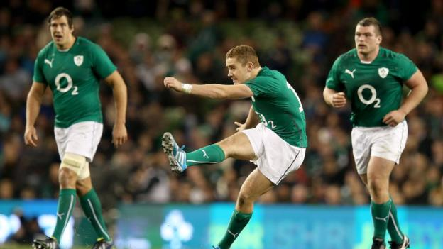 Ireland fly-half Paddy Jackson kicks a penalty as Ireland win the first of their three autumn internationals against Samoa