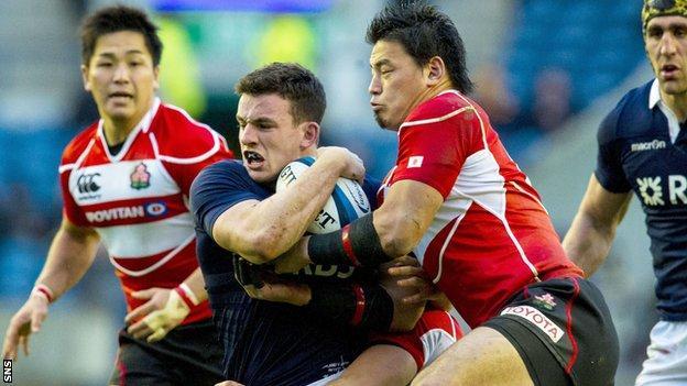 Scotland centre Matt Scott in action against Japan