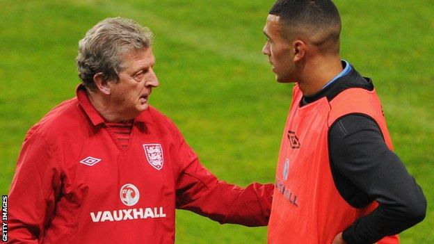 England manager Roy Hodgson with Steven Caulker