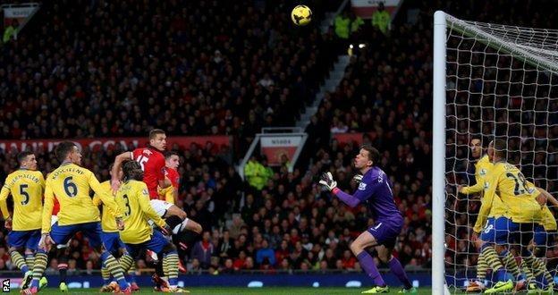Robin van Persie scores Manchester United's winning goal against Arsenal