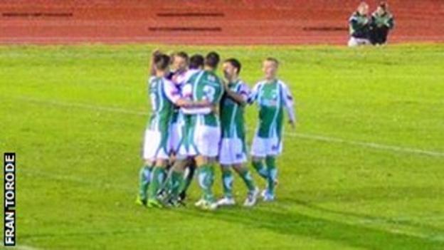 Guernsey FC players celebrate