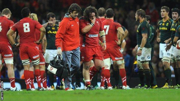 Wales prop Adam Jones limps off against South Africa