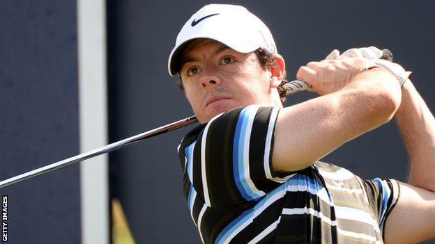Rory McIlroy in action in Tuesday's pro-am ahead of this week's World Tour Championship in Dubai
