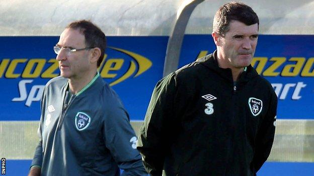 Martin O'Neill and Roy Keane take charge of Republic of Ireland training for their first time since their appointments