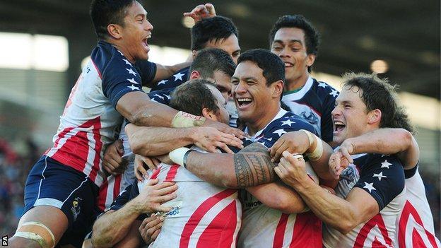 USA players celebrate