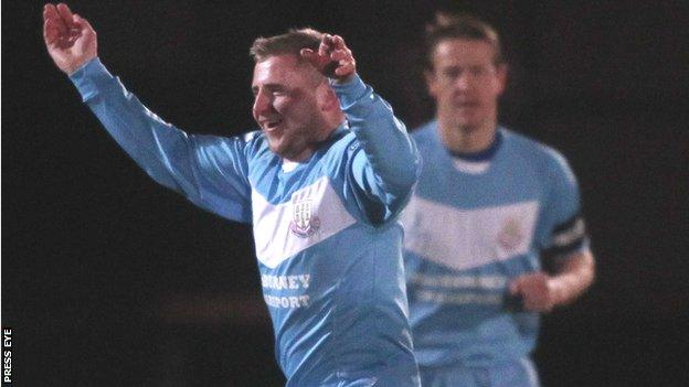 David Cushley celebrates scoring the opener against Portadown
