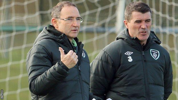 Martin O'Neill and Roy Keane at Republic of Ireland training on Wednesday