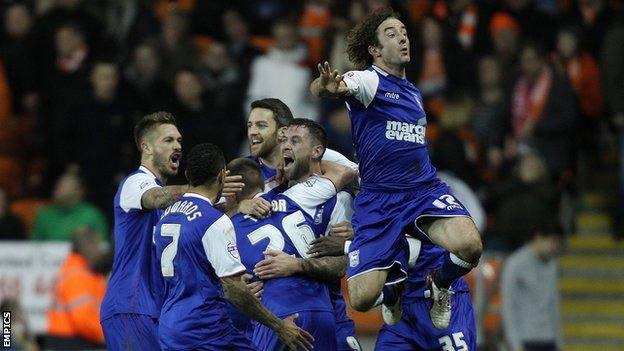 Ipswich Town celebrate the winning goal against Blackpool