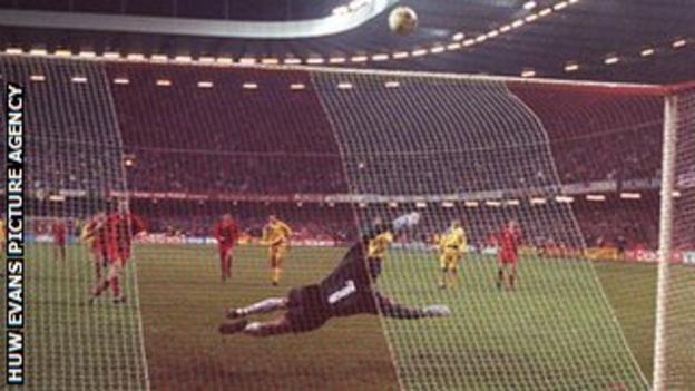 Paul Bodin's penalty striker the crossbar
