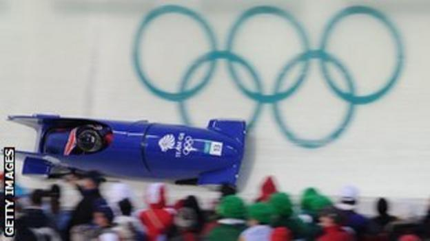 Team GB in action in the Bobsleigh at the Winter Olympics 2010