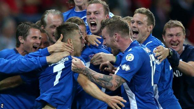 Iceland celebrate their draw with Switzerland