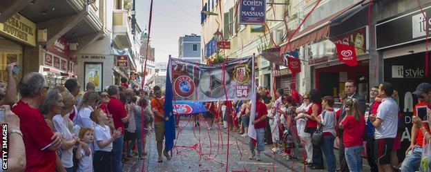 Gibraltar celebrates their acceptance into Uefa