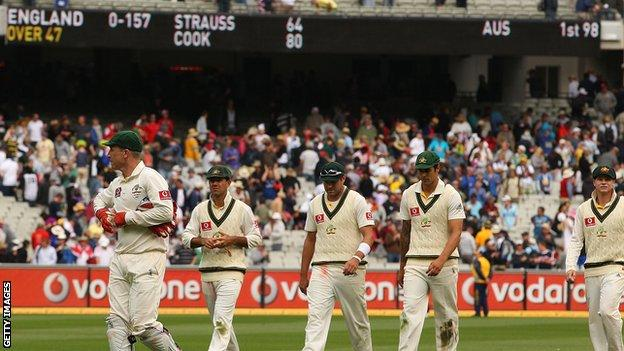 Australia walk off after the first day of the fourth Test in 2010