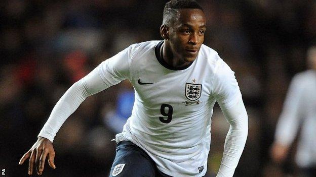Saido Berahino celebrates scoring for England U21s against Finland