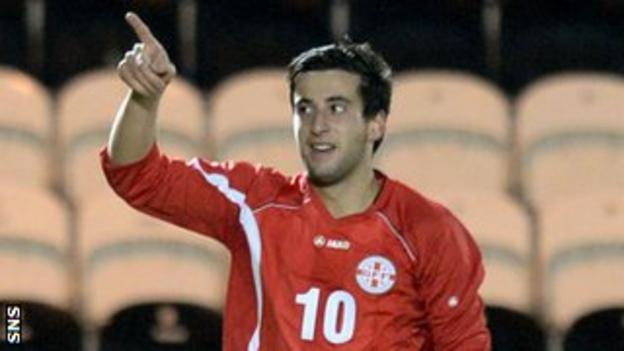 Giorgi Chanturia celebrates for Georgia Under-21s