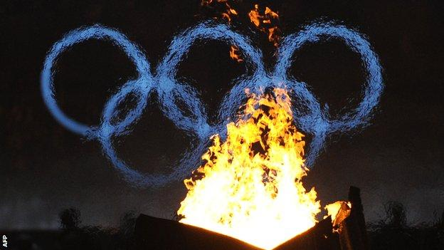 The Olympic torch burns at the 2010 winter Games in Vancouver