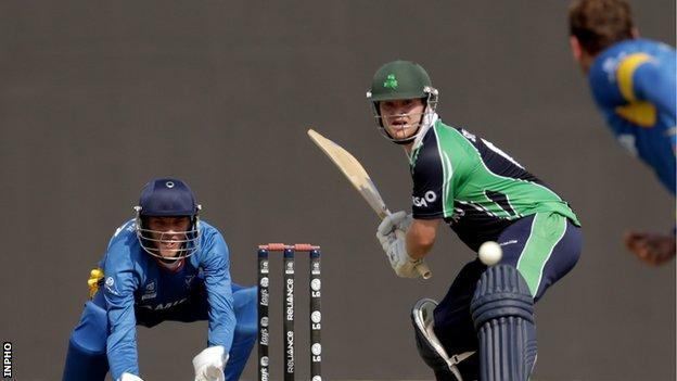 Paul Stirling batting against Namibia on Friday