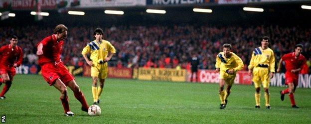 Paul Bodin steps up to strike his penalty against Romania