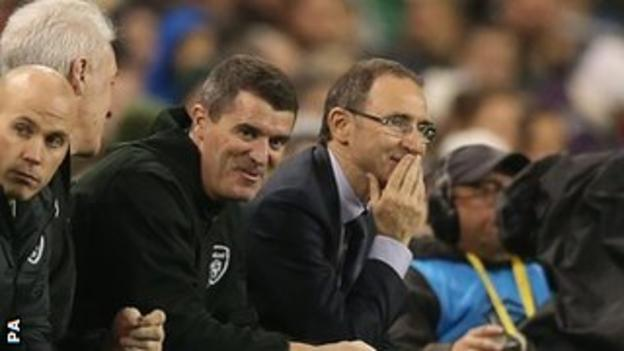 Roy Keane and Martin O'Neill share a laugh as the Republic of Ireland play Latvia