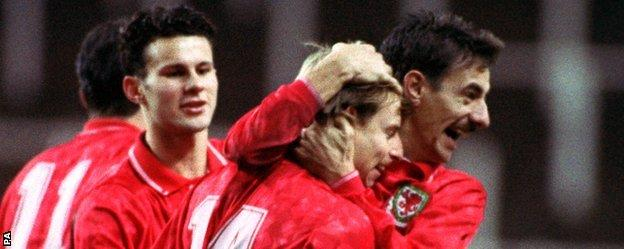 Bodin in happier times, celebrating a penalty against Luxembourg with Ryan Giggs and Ian Rush