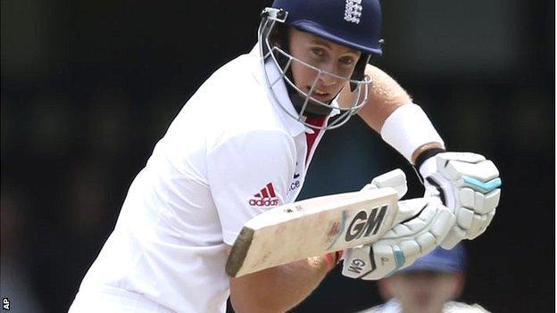 England batsman Joe Root in action against an Invitational XI in Sydney