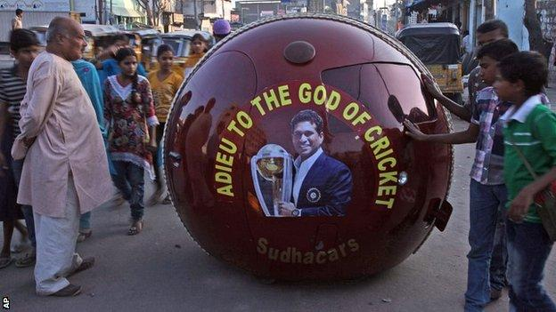 India fans with their tribute to Sachin Tendulkar