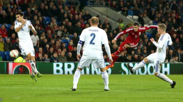 Wales' Gareth Bale unleashes a fierce left-foot shot as the Finland defence tries to close him down