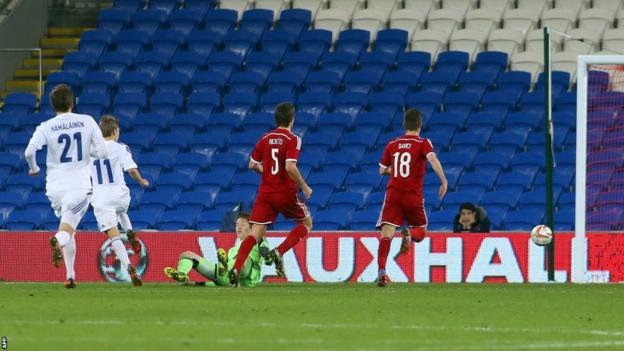 Riku Riski scores a late equaliser for Finland in their friendly against Wales