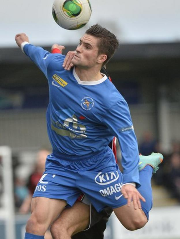 Danny Keohane in action for Ballinamallard United in the Irish Premiership clash against Crusaders
