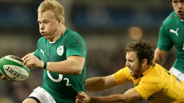 Ireland centre Luke Marshall goes on the attack during the autumn international match against Australia at the Aviva Stadium in Dublin