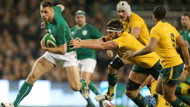 Ulster winger Tommy Bowe attempts to break through for Ireland against Australia