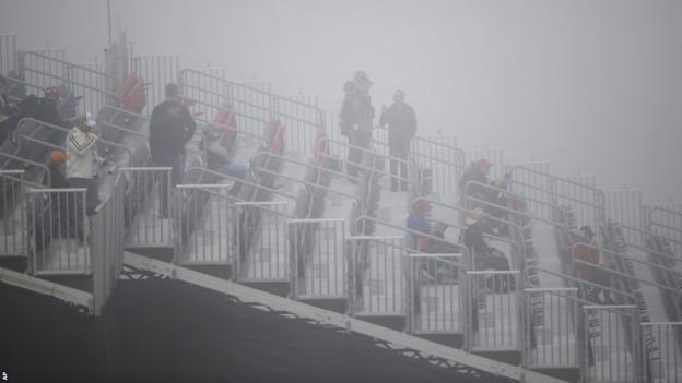 Fog delayed the start of first practice for the United States Grand Prix.