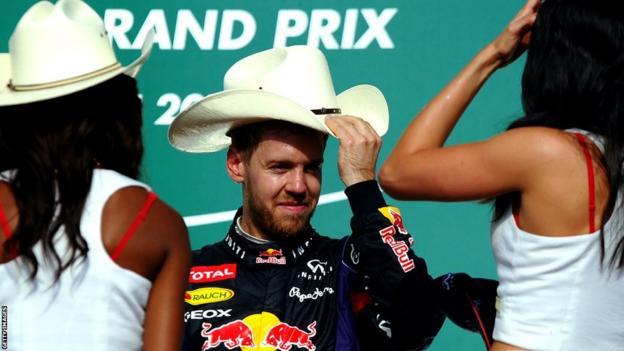 Sebastian Vettel on the podium in Austin