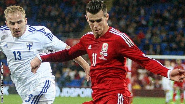 Gareth Bale in action for Wales against Finland