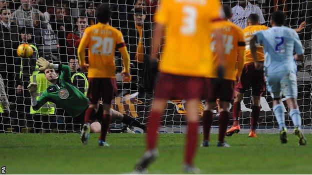 Nakhi Wells scores Bradford's third goal against Coventry City