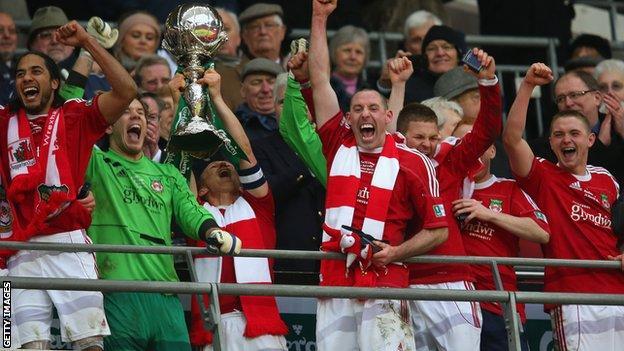 Wrexham celebrate winning the FA Trophy at Wembley
